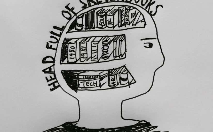 Line drawing of a head full of sketchbooks