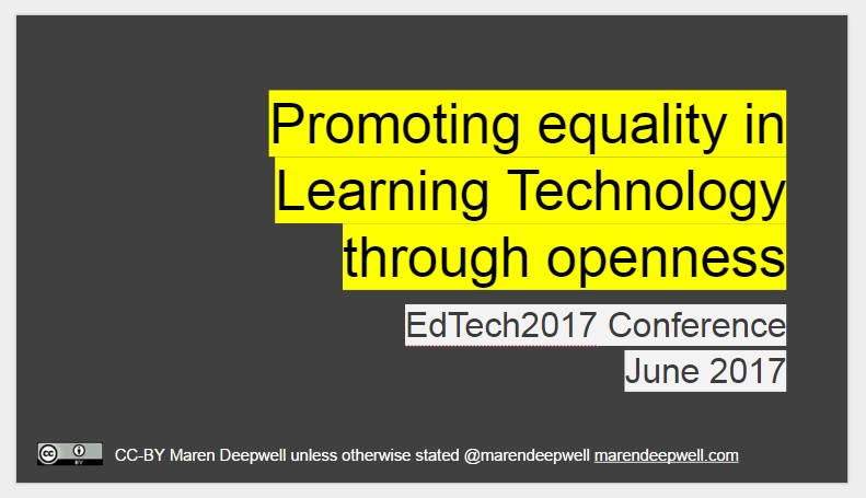 Input welcome: promoting equality in Learning Technology through openness