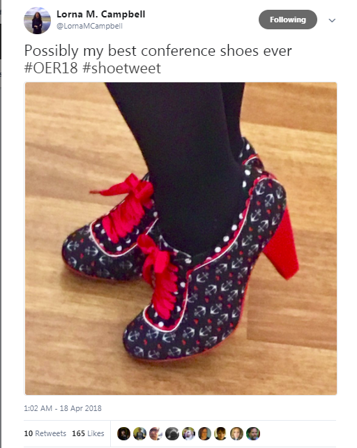 Possibly my best conference shoes ever #OER18 #shoetweet by @LornaMCampbell