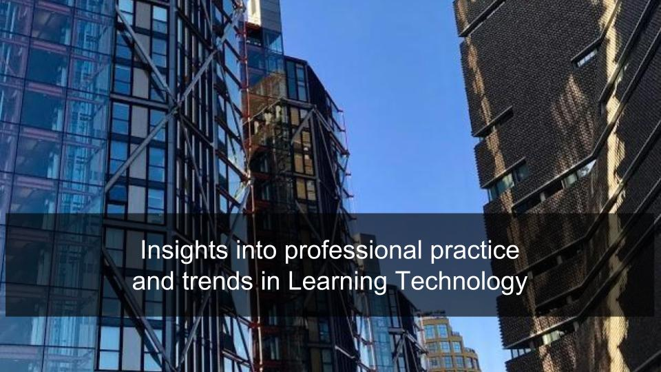 Insights into professional practice  and trends in Learning Technology
